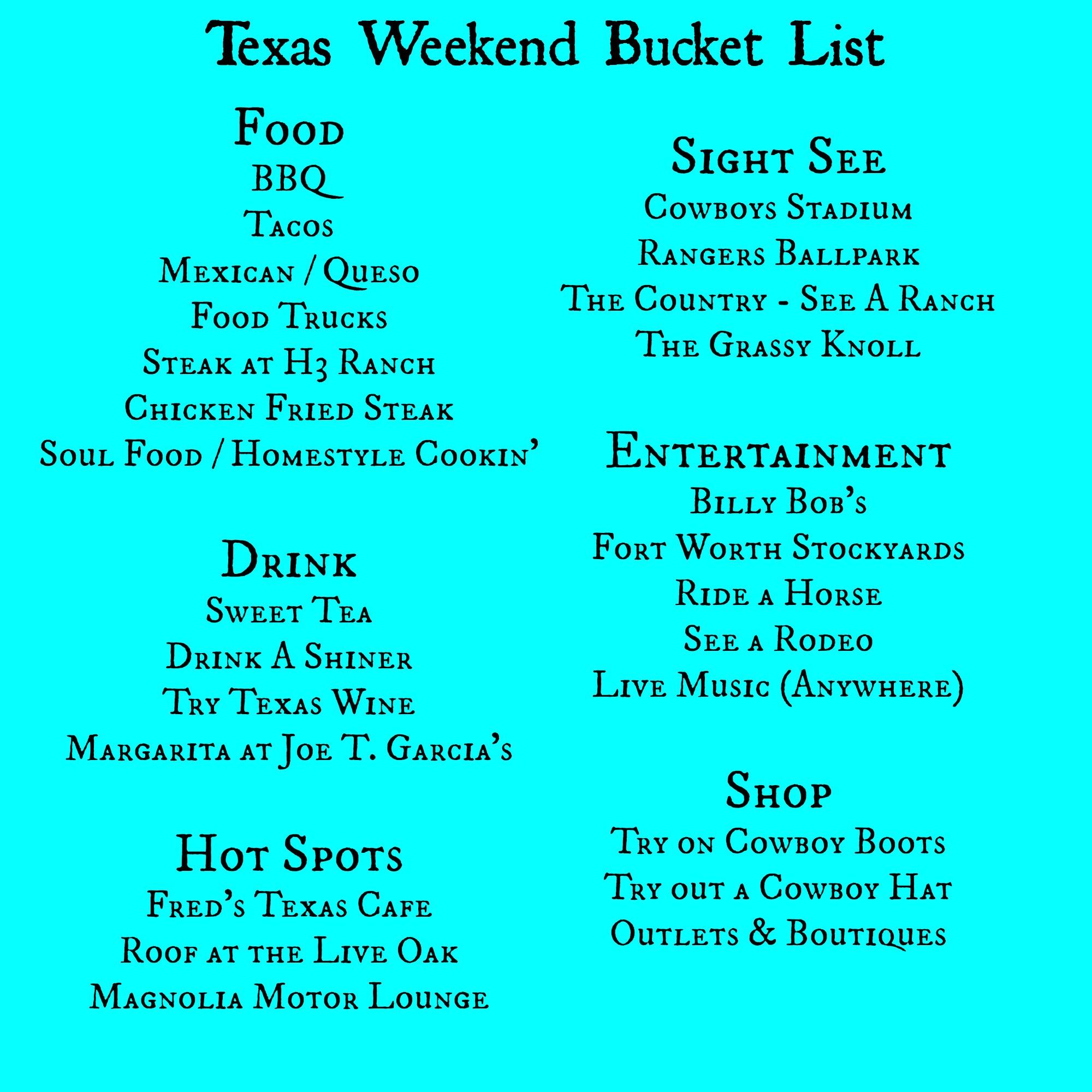 Bucket List Down Home Traveler