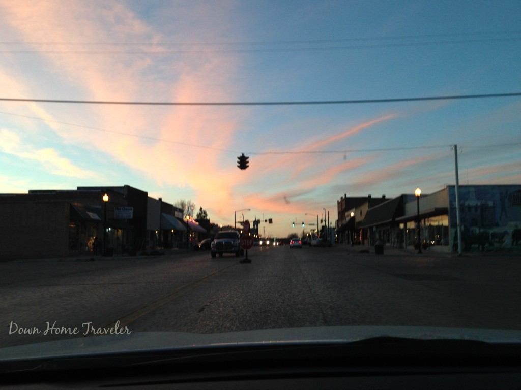 Tishomingo, Oklahoma, downtown, sunset