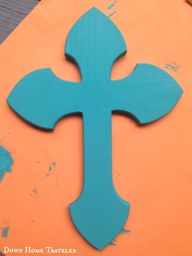 Craft, tourquoise cross, wooden cross, southern cross, texas decor