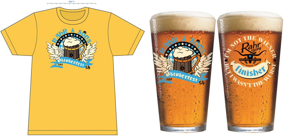 Official shirt and finisher pint glass each registrant receives.