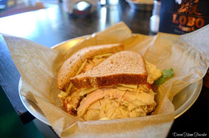 The Levi Local - Honey Roasted Turkey, Swiss Cheese, Local Herb Aioli on wheat bread. Holy moly!
